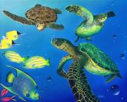 Sea Turtles Painting Metal Prints - Turtle Towne Metal Print by Angie Hamlin
