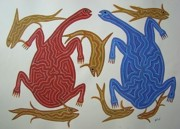 Indian Tribal Art Drawings - Turtles And Fish by Bhuri Bai