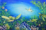 Green Sea Turtle Painting Prints - Turtles Print by Barbara Eberhart