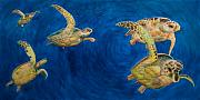 Sea Turtles Painting Metal Prints - Turtles Metal Print by Julia Collard