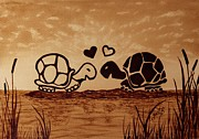 With Metal Prints - Turtles Love coffee painting Metal Print by Georgeta  Blanaru