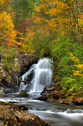 Tn Posters - Turtletown Creek Falls Poster by Debra and Dave Vanderlaan
