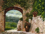 Grapes Painting Posters - Tuscan Arch Poster by ITALIAN ART- Angelica