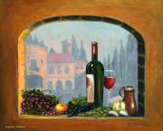 Staircase Paintings - Tuscan Arch Wine Grape feast by Italian Art