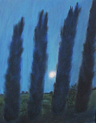 Moonlight Pastels - Tuscan Cyprus Trees by Julie Brugh Riffey