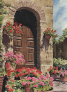 Shadows Painting Metal Prints - Tuscan Door Metal Print by Sam Sidders