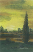 Iowa Pastels Prints - Tuscan Dusk 1 Print by Shelby Kube