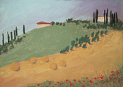 Poppies Field Pastels - Tuscan Farm by Janet Biondi