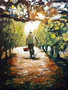 Tuscany Vineyard Oil Paintings - Tuscan Farmer by Christopher Clark