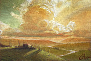 Tuscany Vineyard Oil Paintings - Tuscan Glow by Christopher Clark