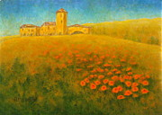 Italian Landscape Painting Originals - Tuscan Gold 1 by Pamela Allegretto