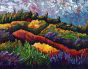 Tuscan Sunset Painting Prints - Tuscan Hills at Sunset Print by Shawna Elliott