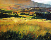 Tuscan Sunset Painting Metal Prints - Tuscan Hillside Metal Print by Christopher Clark
