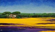 Color Purple Painting Posters - Tuscan Landcape Poster by Trevor Neal