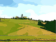 Tuscan Hills Digital Art - Tuscan Landscape by Dee Phillips