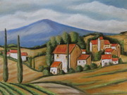 Toscana Paintings - Tuscan Landscape by Melinda Saminski
