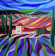 Tuscan Hills Paintings - Tuscan Landscape by Renata Ferenc