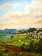 Perspective Paintings - Tuscan landscape by Tigran Ghulyan
