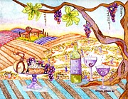 Wine Country Watercolor Paintings - Tuscan living in style by Connie Valasco