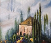Villa Paintings - Tuscan Mist by Therese Alcorn