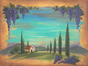 Winery Originals - Tuscan Moonlight Vineyard by Renee Womack