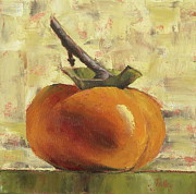 Food Still Life Posters - Tuscan Persimmon Poster by Pam Talley