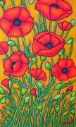 Greet Posters - Tuscan Poppies - Crop 2 Poster by Lisa  Lorenz