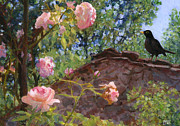 Blackbird Paintings - Tuscan Rose Garden by Theresa Evans