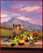 Italian Landscapes Paintings - Tuscan still life by Dibatte