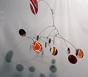 Ceiling Mobile Sculptures - Tuscan Sun Zen Kinetic Mobile Watercolor Sculpture by Carolyn Weir