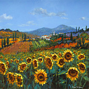 Italian Landscape Painting Prints - Tuscan Sunflowers Print by Chris Mc Morrow