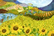 Picturesque Painting Prints - Tuscan Sunflowers Print by Susan Cafarelli Burke