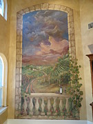 Tuscan Hills Paintings - Tuscan Sunset Mural by Norma Ruffinelli