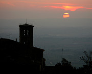 Hilltown Posters - Tuscan Sunset Over Cortona Italy Poster by Greg Matchick