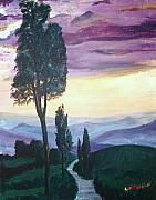 Tuscan Sunset Painting Prints - Tuscan Twilight Print by Adam Bastiani