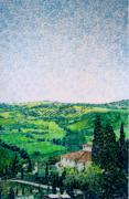 Italian Landscape Mixed Media Prints - Tuscan View Print by Jason Allen