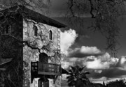 Black_and_white Posters - Tuscan Villa Poster by Mick Burkey