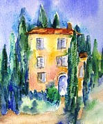 Villa Paintings - Tuscan villa with Cypress Trees  by Trudi Doyle