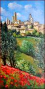 Italian Wine Paintings - Tuscan village by Bruno Chirici