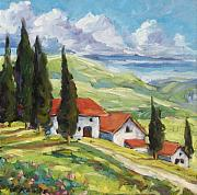 Original  By Artist Paintings - Tuscan Villas by Richard T Pranke