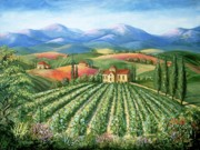 Travel Destinations Paintings - Tuscan Vineyard and Abbey by Marilyn Dunlap