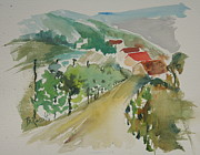 Wet Into Wet Watercolor Prints - Tuscan Vineyard Print by B Rossitto
