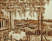 Wine Vineyard Pyrography - Tuscan Vineyard by Cate McCauley