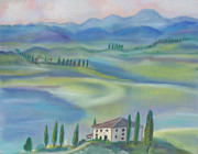 Vista Pastels Framed Prints - Tuscan Vista Framed Print by Julie Brugh Riffey