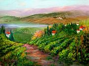 Pastoral Vineyards Painting Posters - Tuscan Vista Poster by Sally Seago