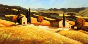 Old Houses Painting Prints - Tuscan Wheatfield 2 Print by Santo De Vita