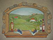 Grapes Paintings - Tuscan Window View by Anita Burgermeister