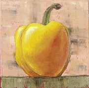 Olive Green Painting Prints - Tuscan Yellow Pepper Print by Pam Talley
