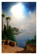 Balcony Painting Framed Prints - Tuscanny Framed Print by Murphy Elliott
