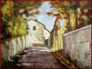 Italian Landscapes Paintings - Tuscany alley by Giovanni Novelli